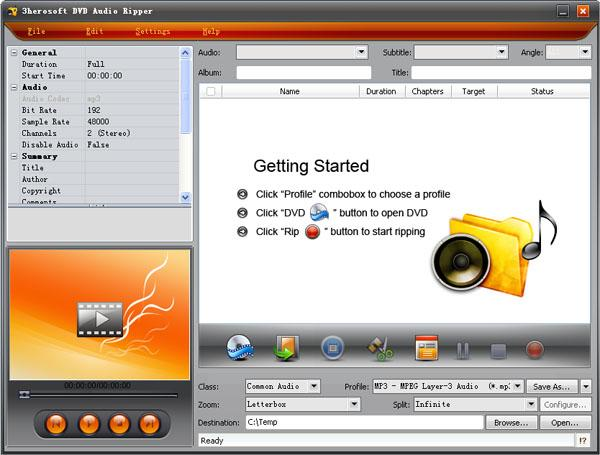 3herosoft DVD Audio Ripper Screenshot