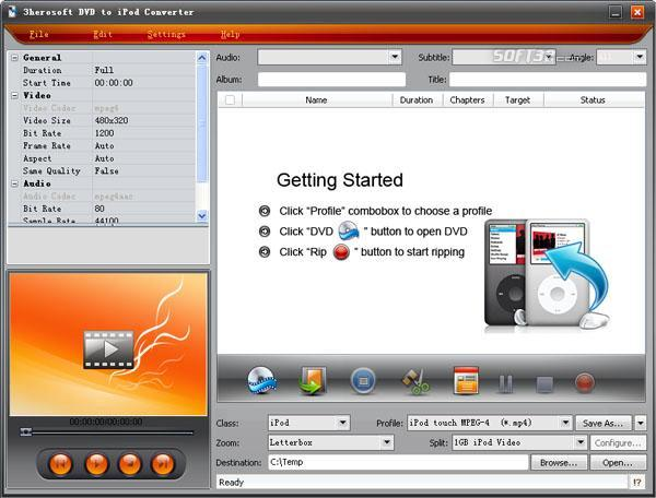 3herosoft DVD to iPod Converter Screenshot 2