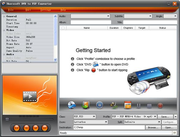 3herosoft DVD to PSP Converter Screenshot 3