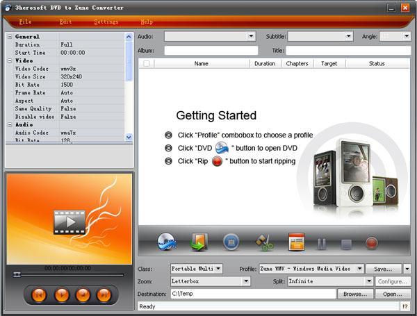 3herosoft DVD to Zune Converter Screenshot 1
