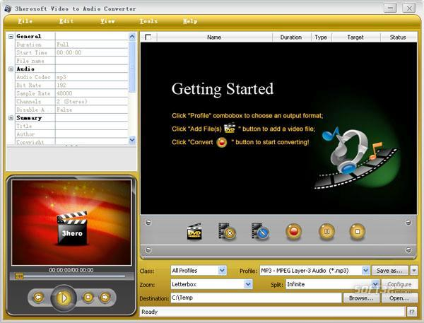 3herosoft Video to Audio Converter Screenshot 2