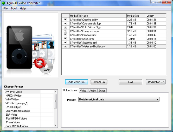 Agrin Free All Video Converter Screenshot 1