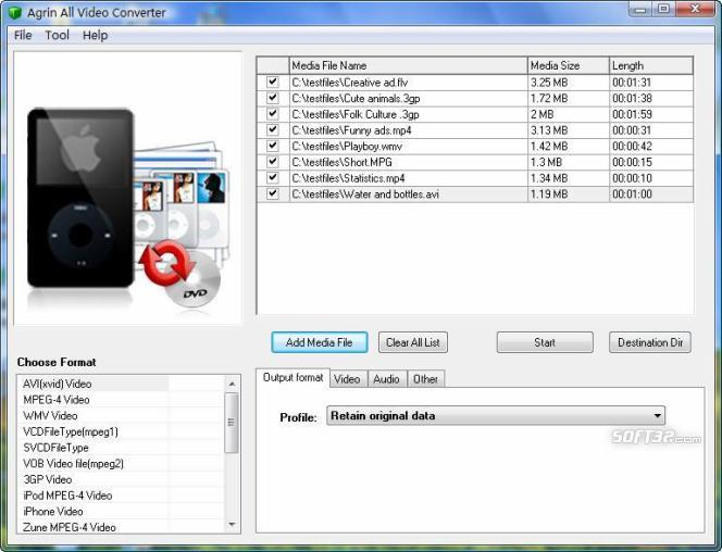 Agrin Free All Video Converter Screenshot 2