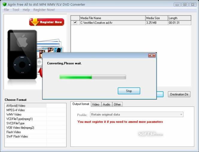 Agrin Free All to AVI MP4 FLV Converter Screenshot 2