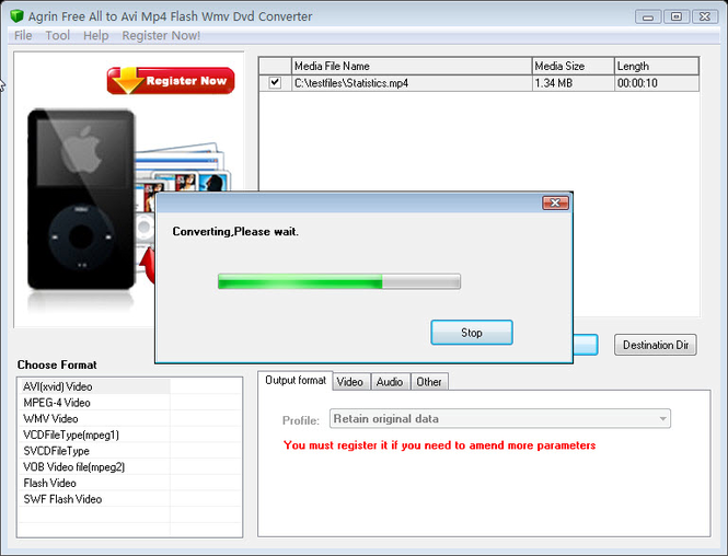 Agrin Free All to Avi Mp4 Swf Converter Screenshot