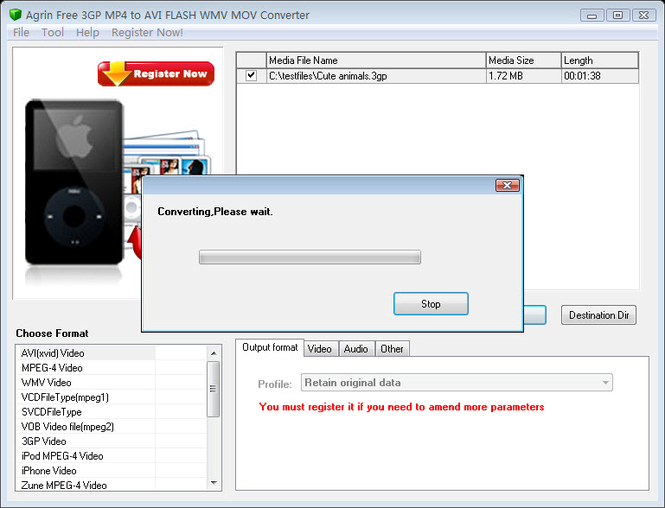 Agrin Free 3GP MP4 to AVI WMV Converter Screenshot