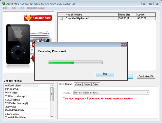 Agrin Free ASF AVI to WMV MOV Converter Screenshot 1