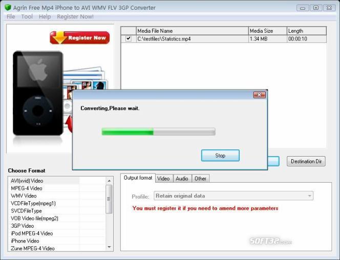 Agrin Free Mp4 iPhone to AVI Converter Screenshot 2