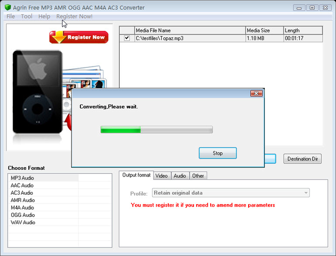 Agrin Free MP3 AMR OGG AAC M4A Converter Screenshot
