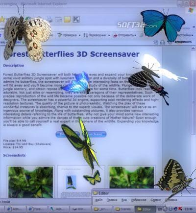Desktop Butterflies 3D Screensaver Screenshot 3