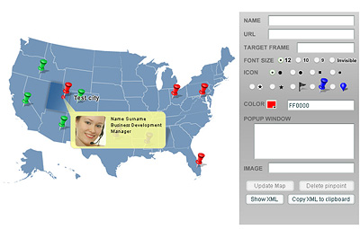 Pinpoint Locator Map of USA Screenshot