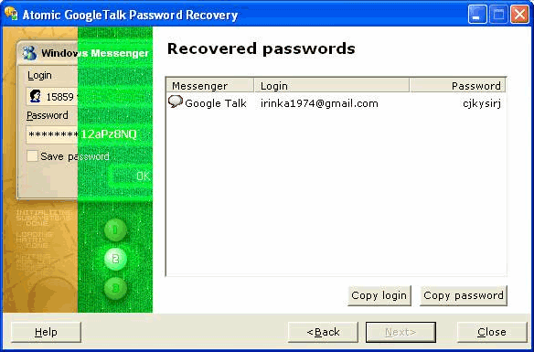 Atomic Google Talk Password Recovery Screenshot