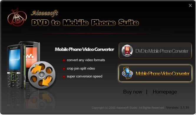 Aiseesoft DVD to Mobile Phone Suite Screenshot