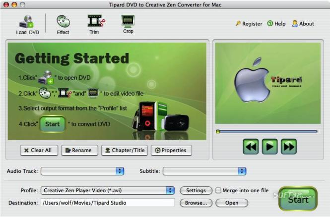 Tipard DVD toCreativeZenConverterforMac Screenshot 2