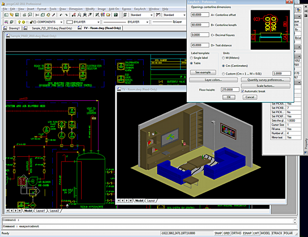 progeCAD Professional 2009 DWG CAD Screenshot