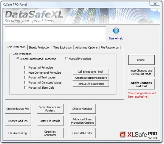 XLSafe 2007 Screenshot