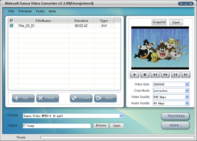 Nidesoft Sansa Video Converter Screenshot