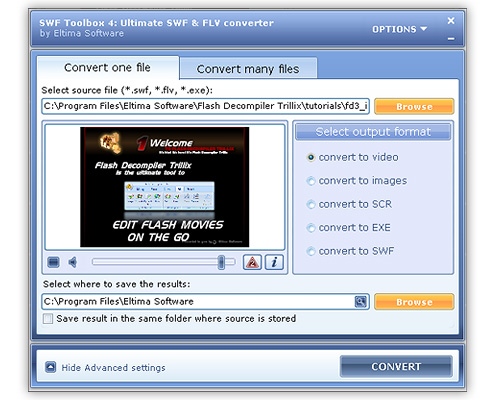FLV to AVI Converter Screenshot