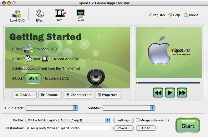 Tipard DVD Audio Ripper for Mac Screenshot