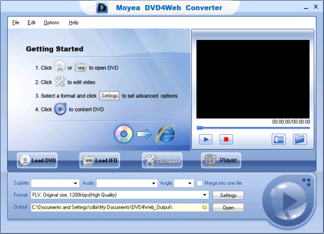 Moyea DVD4Web Converter Screenshot 1
