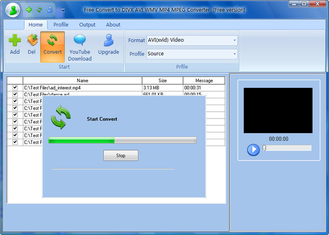 Free Convert to DIVX AVI WMV MP4 MPEG Screenshot