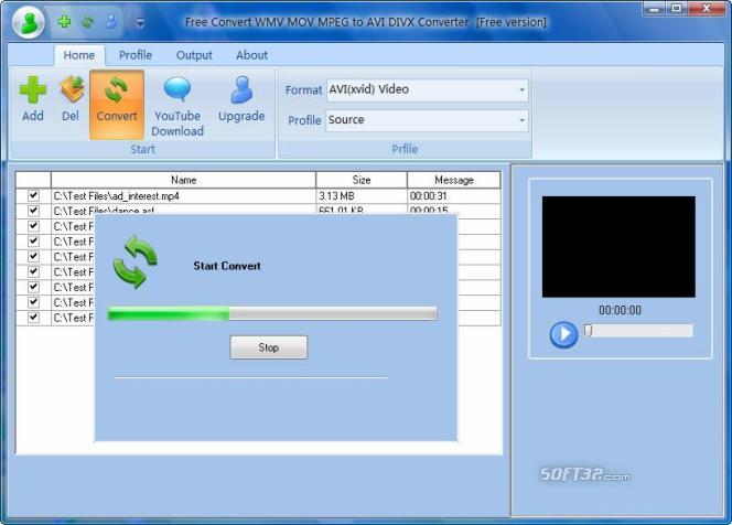 Free Convert WMV MOV MPEG to AVI DIVX Screenshot 2