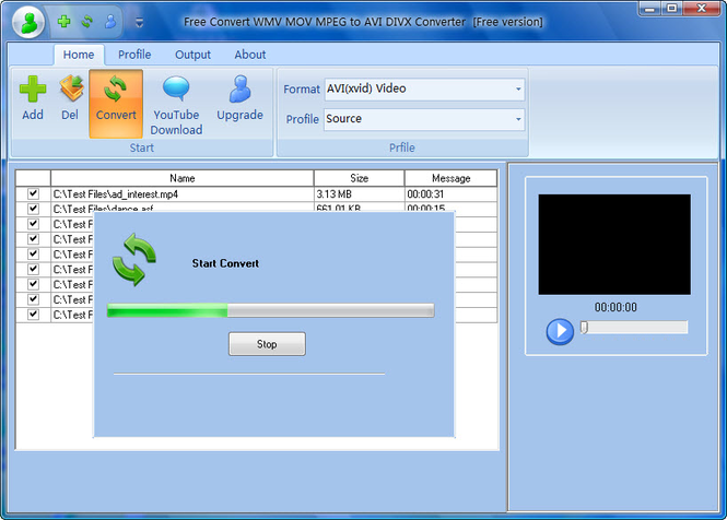 Free Convert WMV MOV MPEG to AVI DIVX Screenshot 1