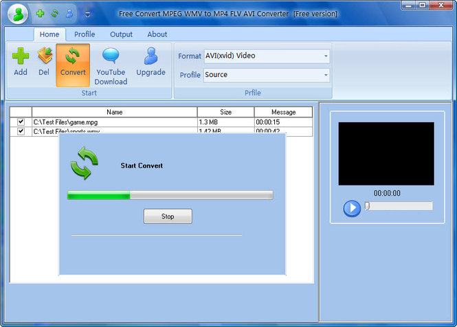 Free Convert MPEG WMV to MP4 FLV AVI Screenshot