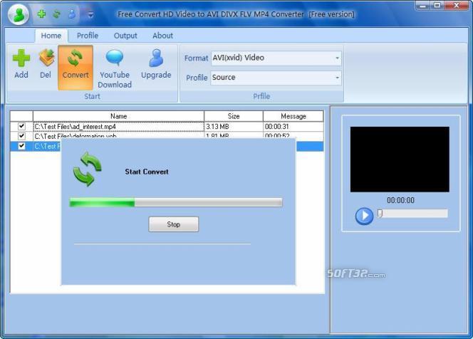 Free Convert HD Video to AVI DIVX FLV Screenshot 2