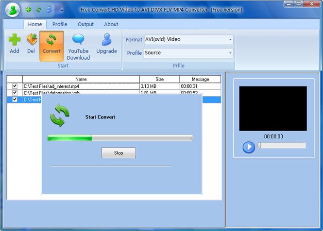 Free Convert HD Video to AVI DIVX FLV Screenshot 1