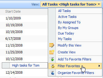 SharePoint List Filter Favorites Screenshot