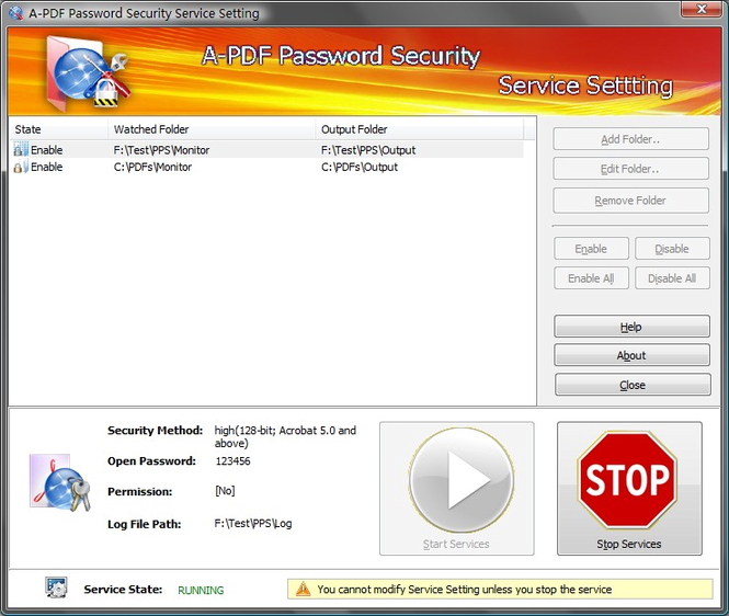 A-PDF Password Security Service Screenshot