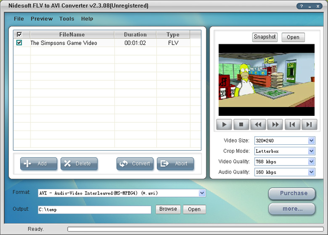 Nidesoft FLV to AVI Converter Screenshot