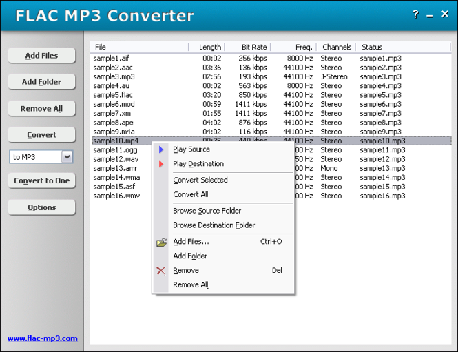 FLAC MP3 Converter Screenshot