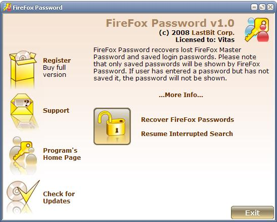 LastBit FireFox Password Recovery Screenshot