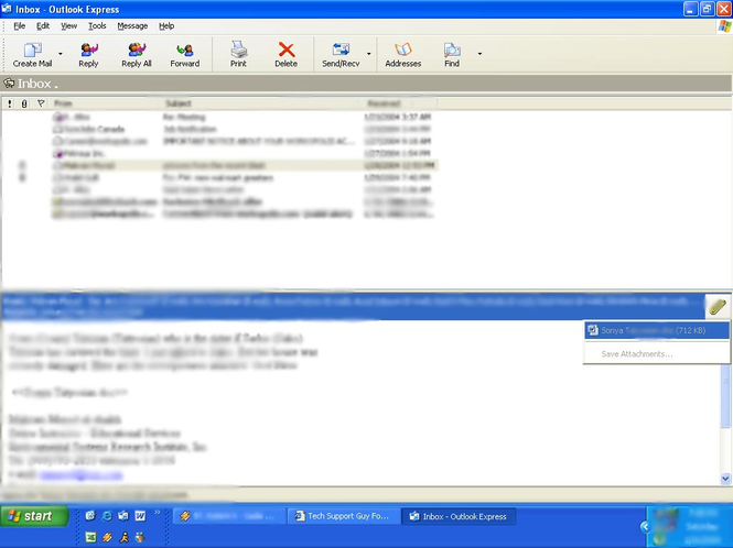 Outlook Express Screenshot 4