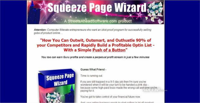 Squeeze Page Wizard Software Screenshot 3