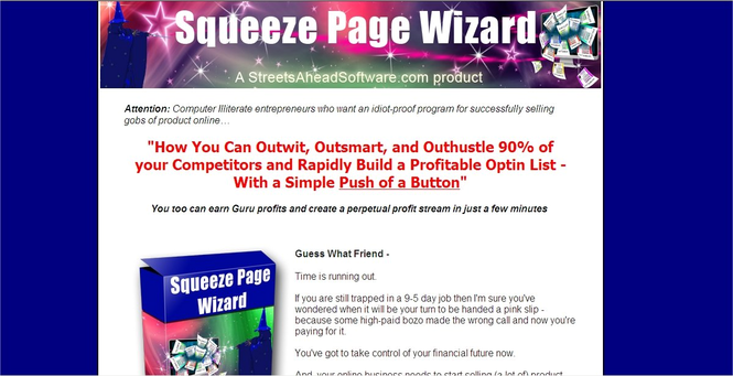 Squeeze Page Wizard Software Screenshot 1