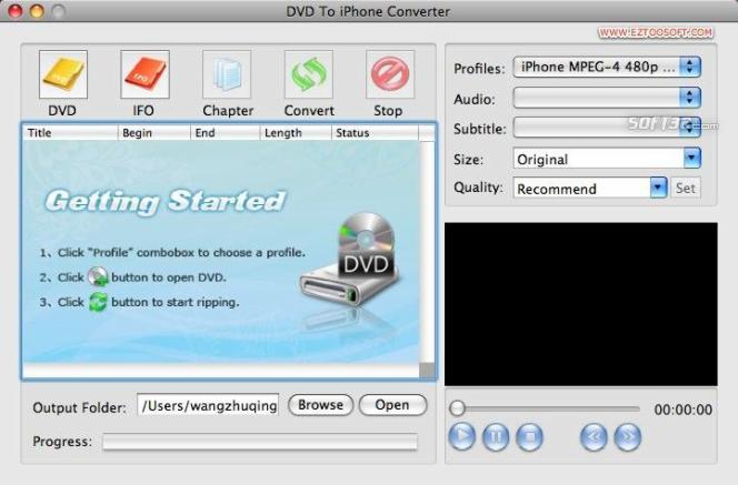 DVD To iPhone Converter for MAC(PPC) Screenshot 2