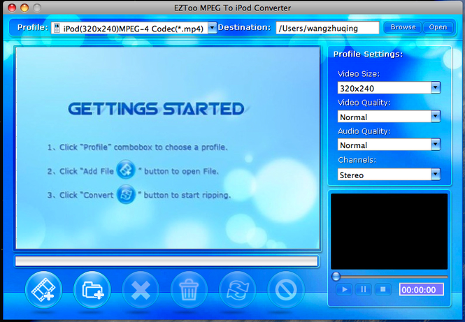 MPEG To iPod Converter for MAC(intel) Screenshot 1