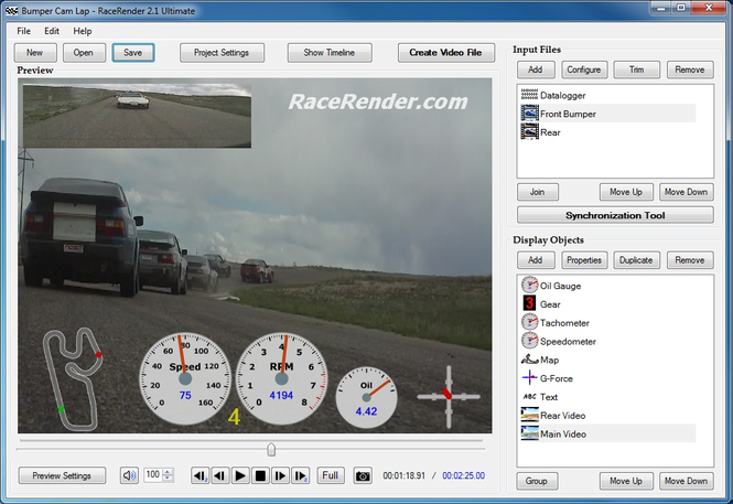 RaceRender Video Processor Screenshot