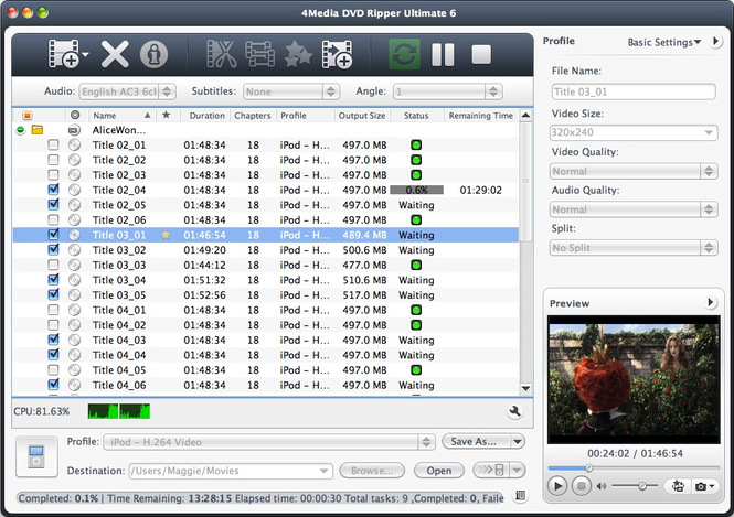 4Media DVD Ripper Ultimate for Mac Screenshot