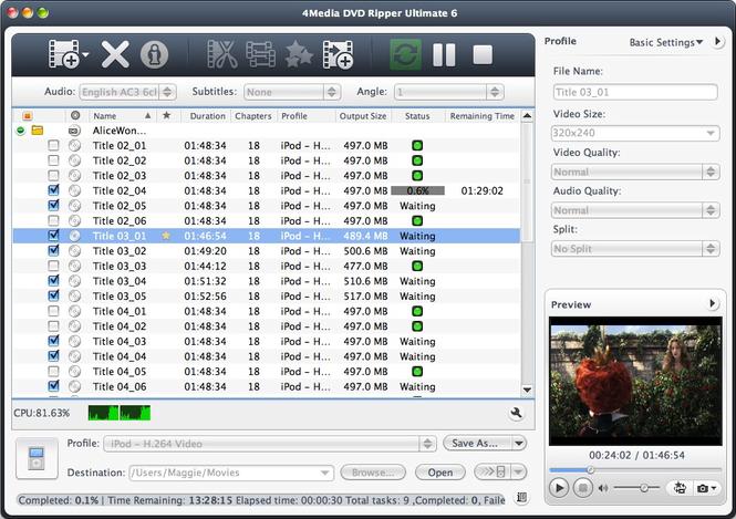 4Media DVD Ripper Ultimate for Mac Screenshot 1