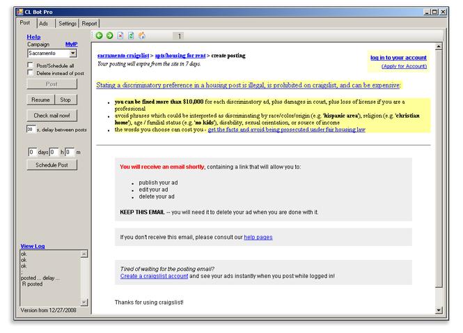 Craigslist Bot Pro Screenshot
