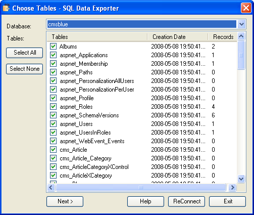 SQL Data Exporter Screenshot