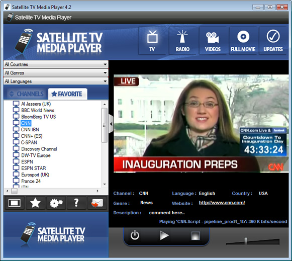 Satellite TV Media Player Screenshot