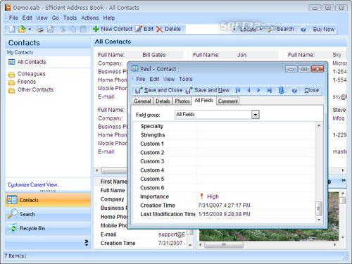Efficient Address Book Screenshot 2