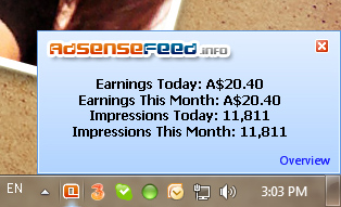 Adsense Earning System tray Tracker Screenshot 1