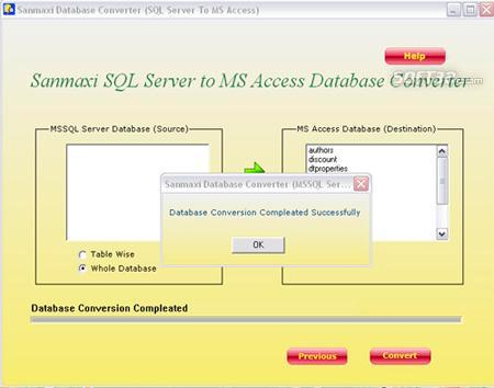 MS SQL to MS Access Database Converter Application Screenshot 2