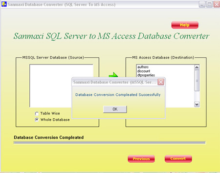 MS SQL to MS Access Database Converter Application Screenshot